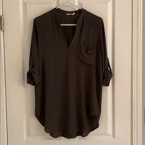 Lush Perfect Roll Tab Sleeve Tunic, Olive